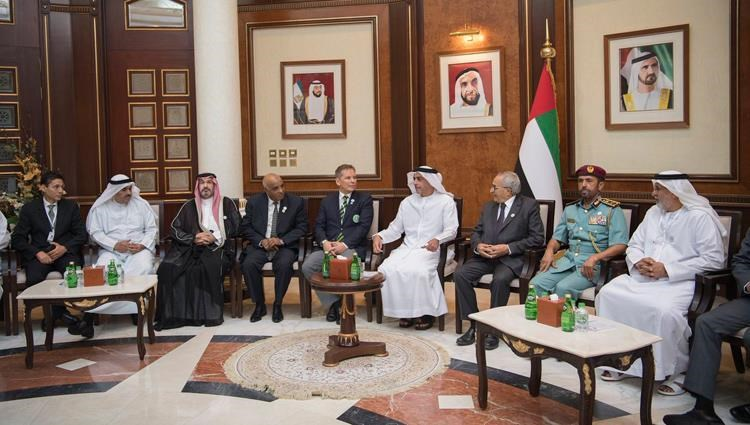 Saif bin Zayed meets with delegations participating in the General Assembly of the Arab Union of Veterans
