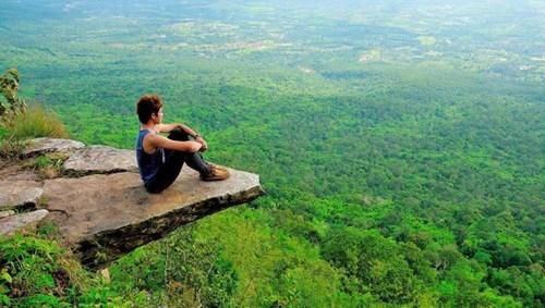 A man meditating alone