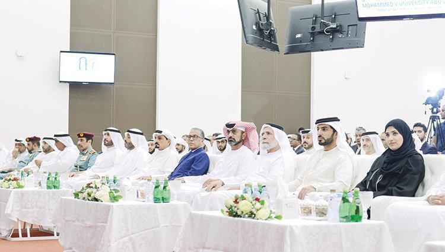 Humaid Al Nuaimi and Ammar Al Nuaimi during the ceremony in the presence of Rashid bin Humaid and Majid Al Nuaimi and pictured Mohammed Al Kaabi and Farouk Hamada and the Moroccan Ambassador (WAM)
