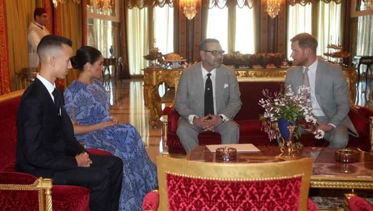 Prince Harry and Madagan Merkel meet with Moroccan King Mohammed VI