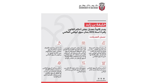 خليفة بن زايد يصدر قانوناً بتعديل قانون «أبوظبي العالمي»
